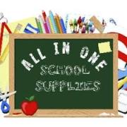"chalkboard with words ""All in One School Supplies"" written"