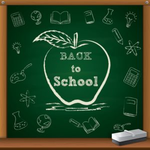 """Chalkboard with an apple containing the text """"Back to School""""."""