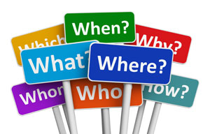 An image of who, what, when, where, and why signs.