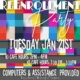 An image of the Re-Enrollment Party flier on Tuesday, January 21, 2020, from 2-4 pm for K-1st or 2:30-5:30 pm for 2nd-12th