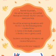 An image of the Fall Festival Donations flyer