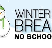 Winter background with blue sky and snow on the ground. Snowman with Winter Break No School written in black text.