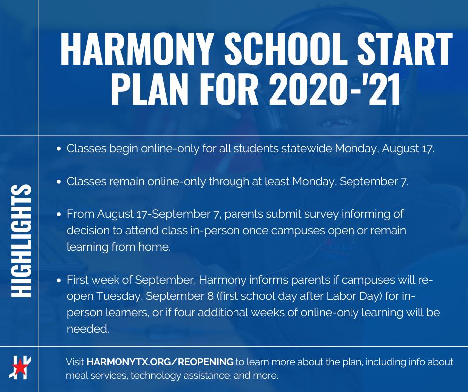HARMONY SCHOOL START PLAN for 2020-'21